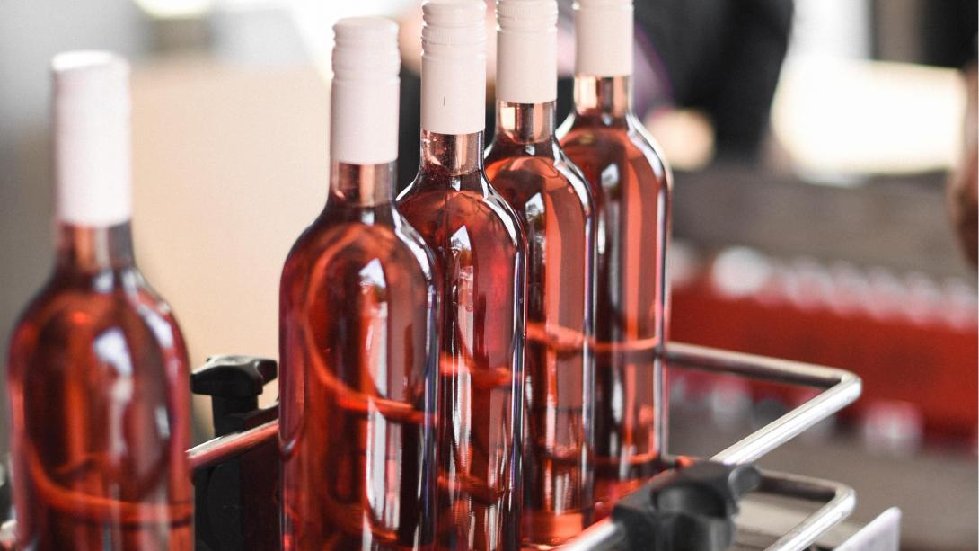 Vin produceras och tappas på flaska på en vingård i Stellenbosch, Sydafrika.